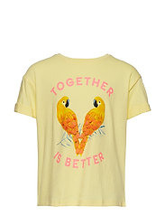 Parrots embroidered t-shirt - YELLOW