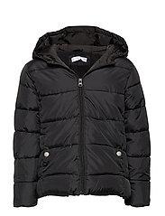 Hooded water-repellent coat - BLACK