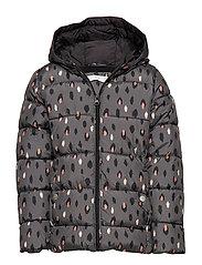 Hooded water-repellent coat - CHARCOAL