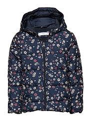 Hooded water-repellent coat - NAVY