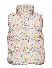 Printed quilted gilet - LIGHT BEIGE
