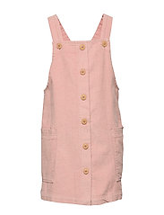 Buttons corduroy pinafore dress - PINK
