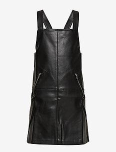 Zipped shift pinafore dress - BLACK