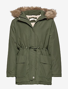 Faux fur hooded coat - BEIGE - KHAKI