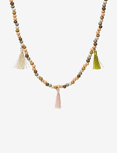 Fringed bead necklace - GREEN