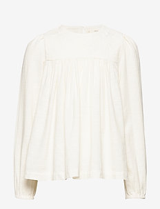 Floral embroidered flowy shirt - NATURAL WHITE