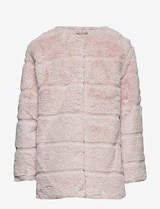 Faux fur coat - LT-PASTEL PINK