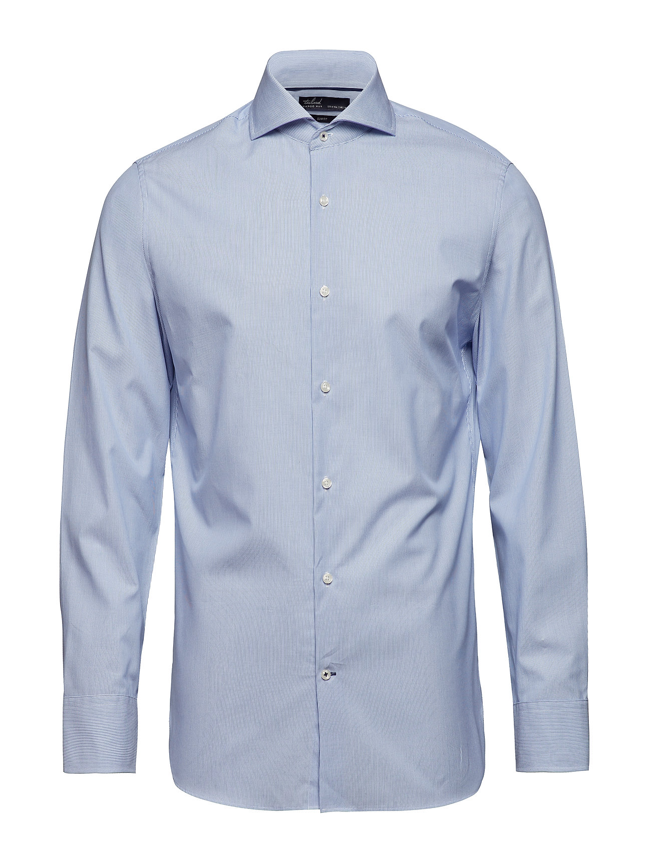 100% Linen Slim Fit Shirt Skjorte Business Blå Mango Man