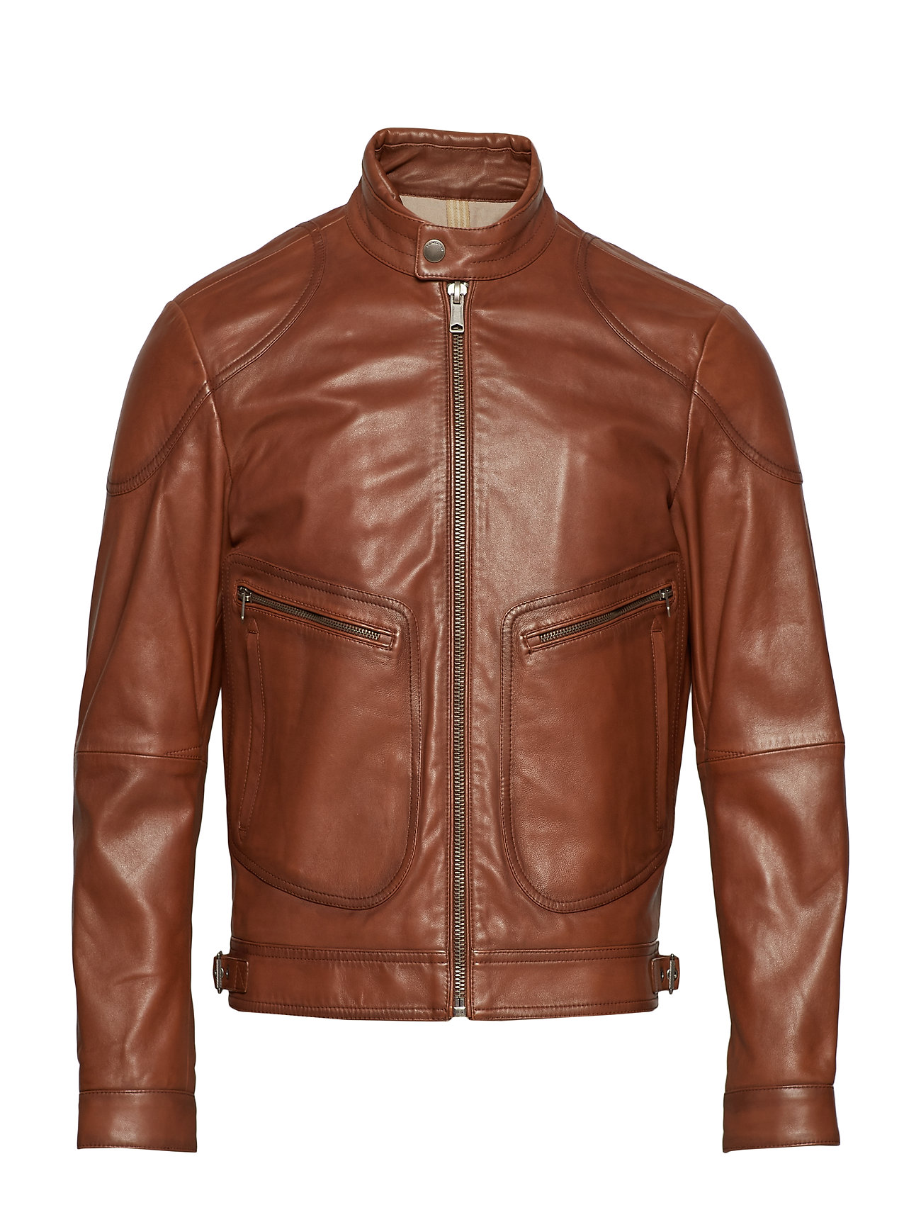 Mango Man Leather elbow patch biker jacket Ytterkläder