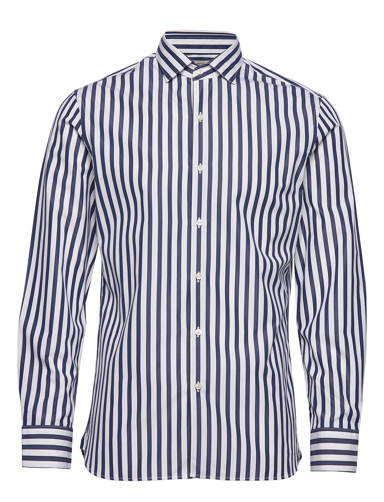 Mango Man Slim fit striped cotton shirt - NAVY