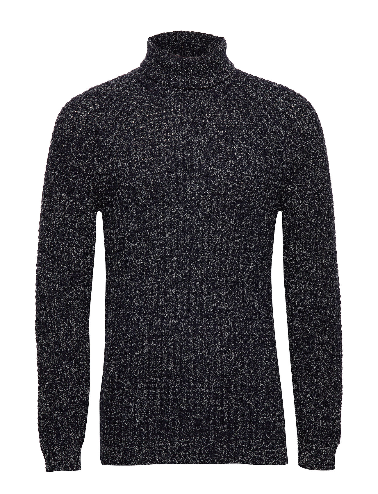 Mango Man Flecked cotton wool-blend sweater - NAVY