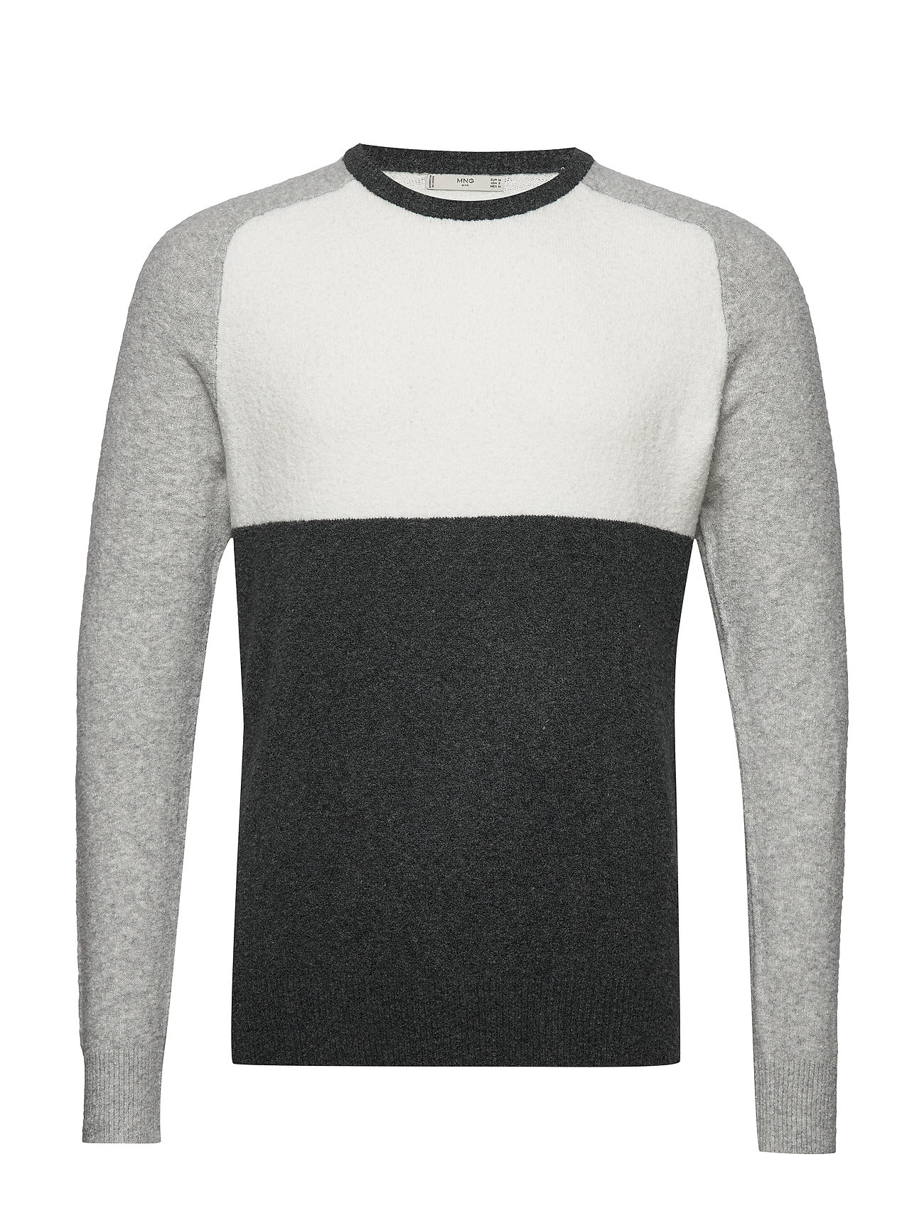 Mango Man Textured cotton wool-blend sweater - MEDIUM GREY