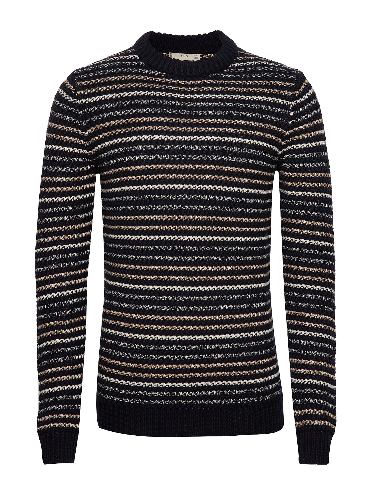 Mango Man Striped open-work sweater - NAVY
