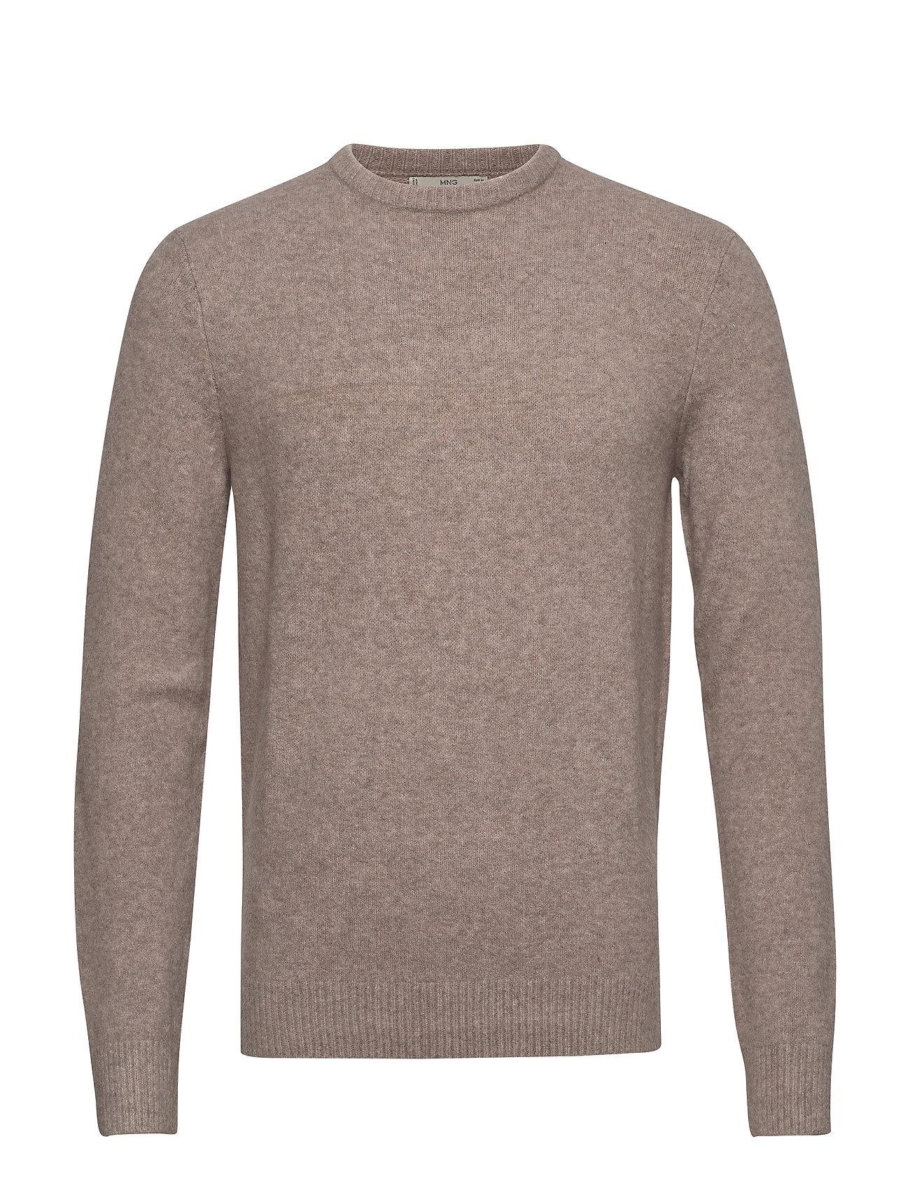 Mango Man Textured wool-blend sweater - LIGHT BEIGE