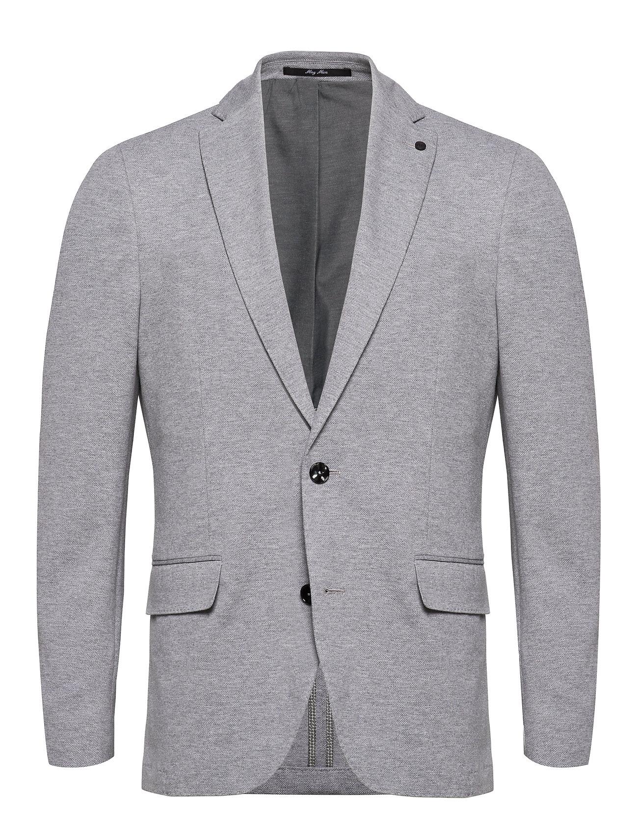 Mango Man Slim fit elbow-patch cotton blazer - MEDIUM GREY