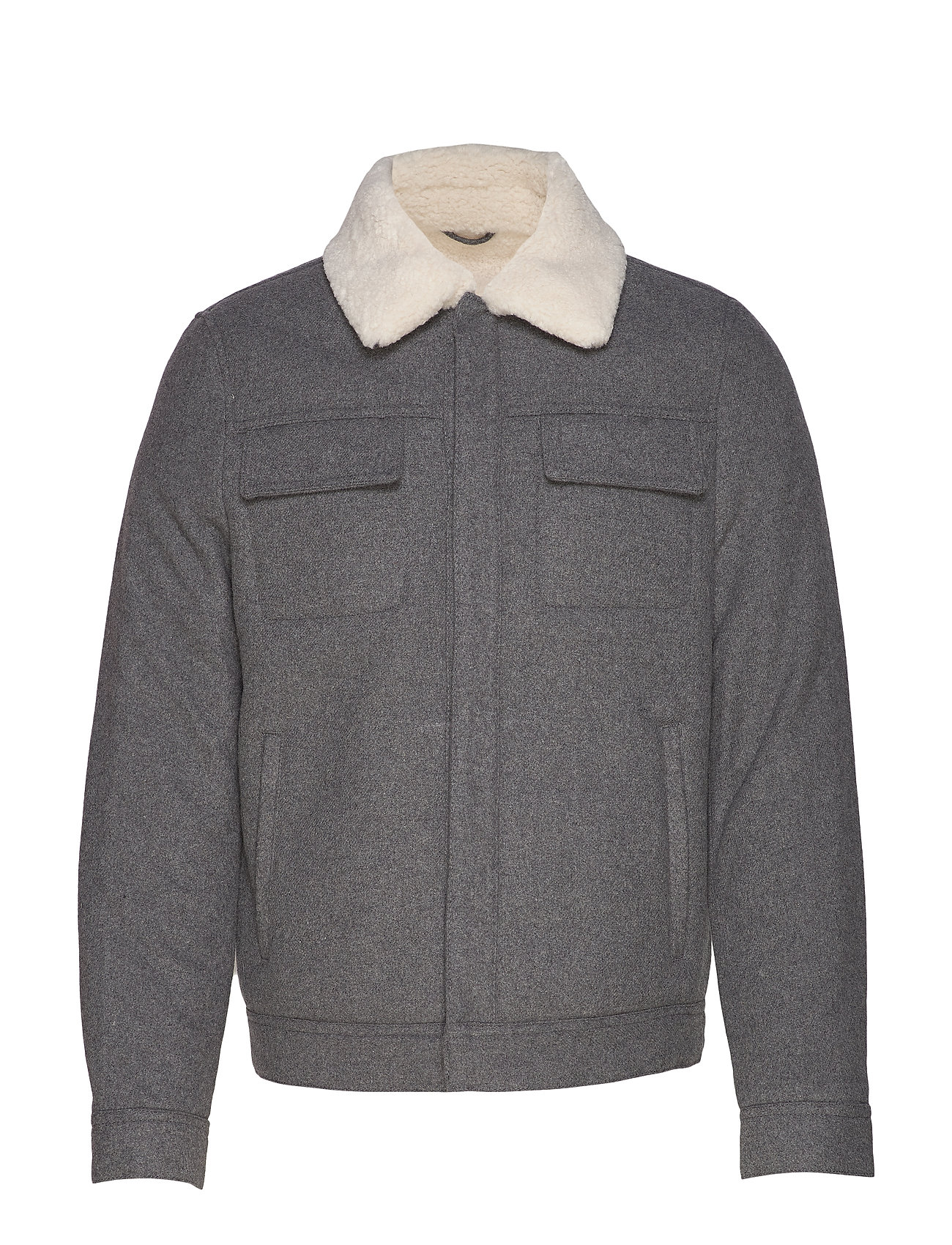 Mango Man Faux-shearling wool aviator jacket - LT PASTEL GREY