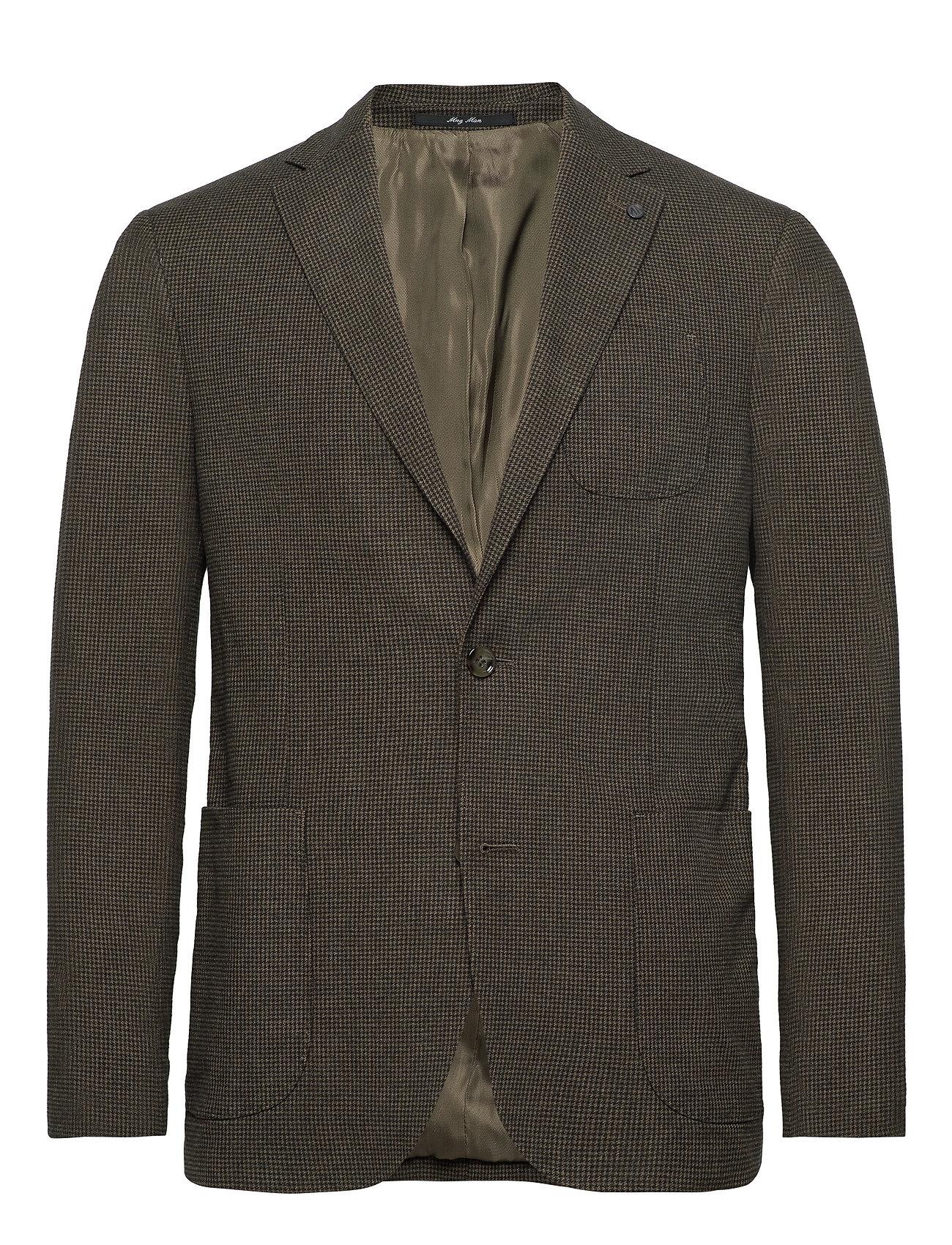 Mango Man Slim fit houndstooth suit blazer - GREEN