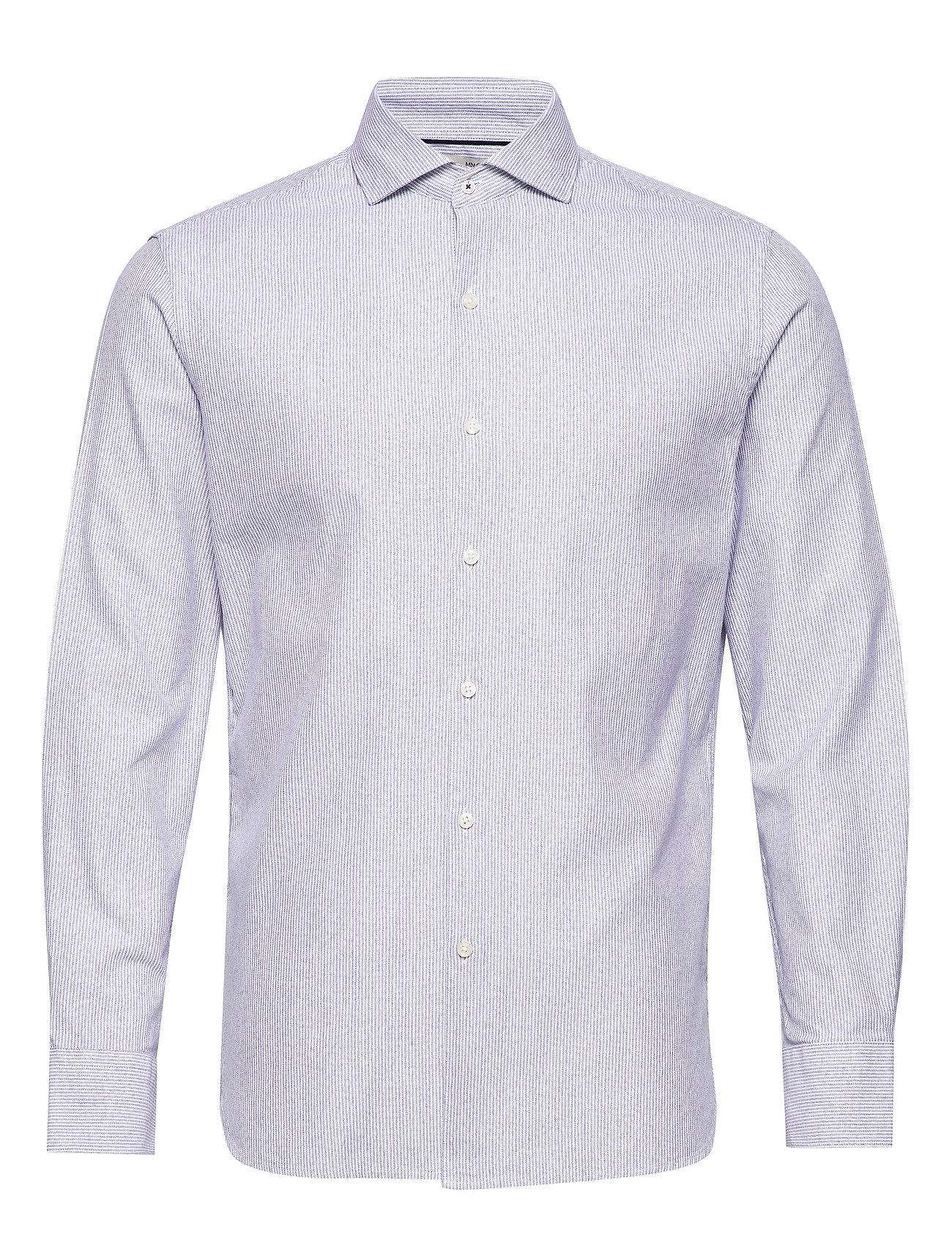 Mango Man Slim fit fine-striped cotton shirt - NAVY