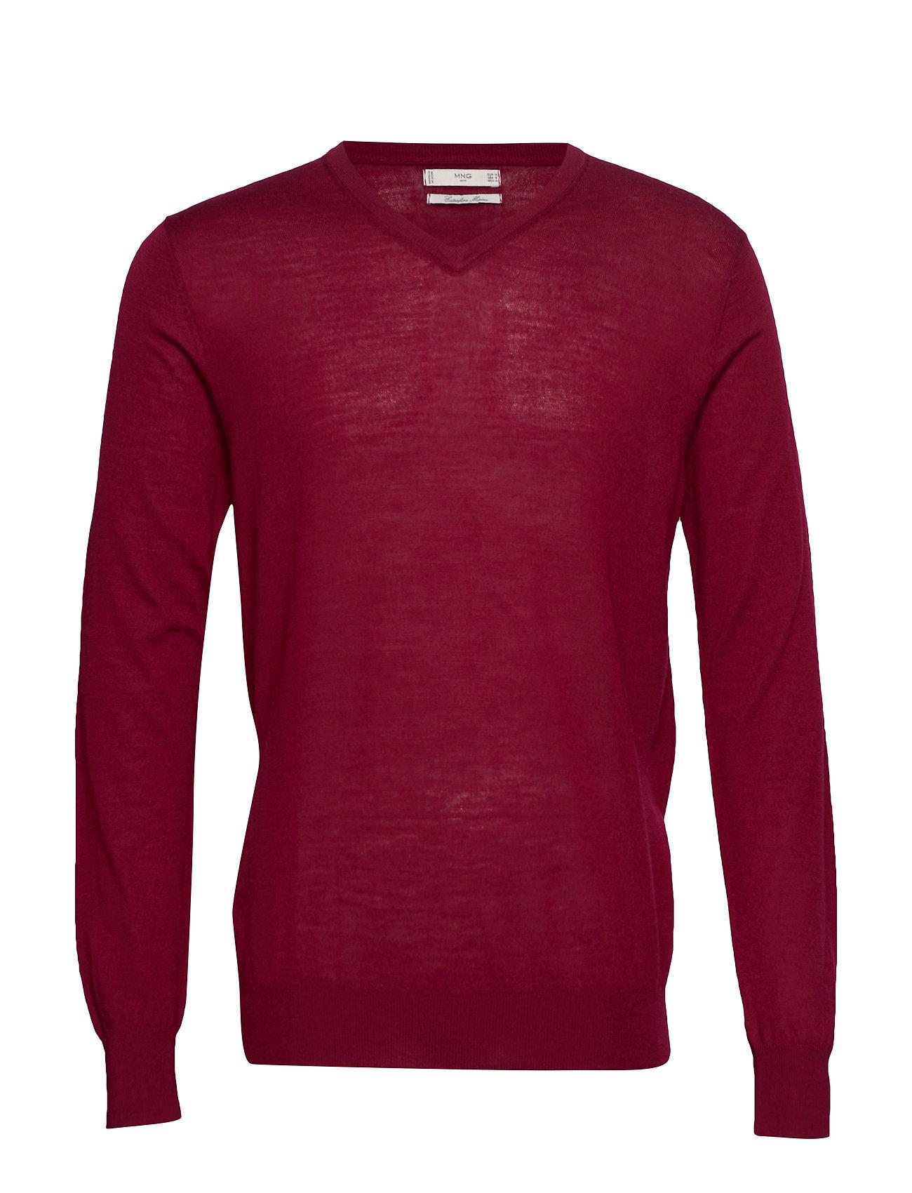 100% Merino Wool Washable Sweater Neulepaita V-kaula-aukko Punainen Mango Man