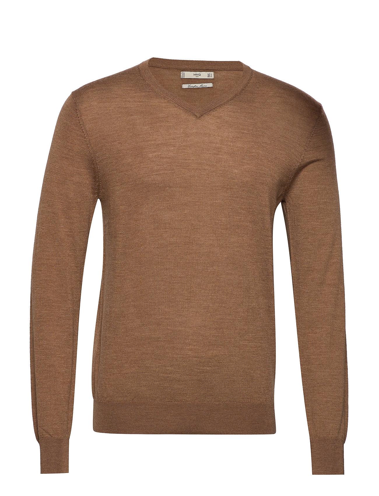 100% Merino Wool Washable Sweater Neulepaita V-kaula-aukko Ruskea Mango Man