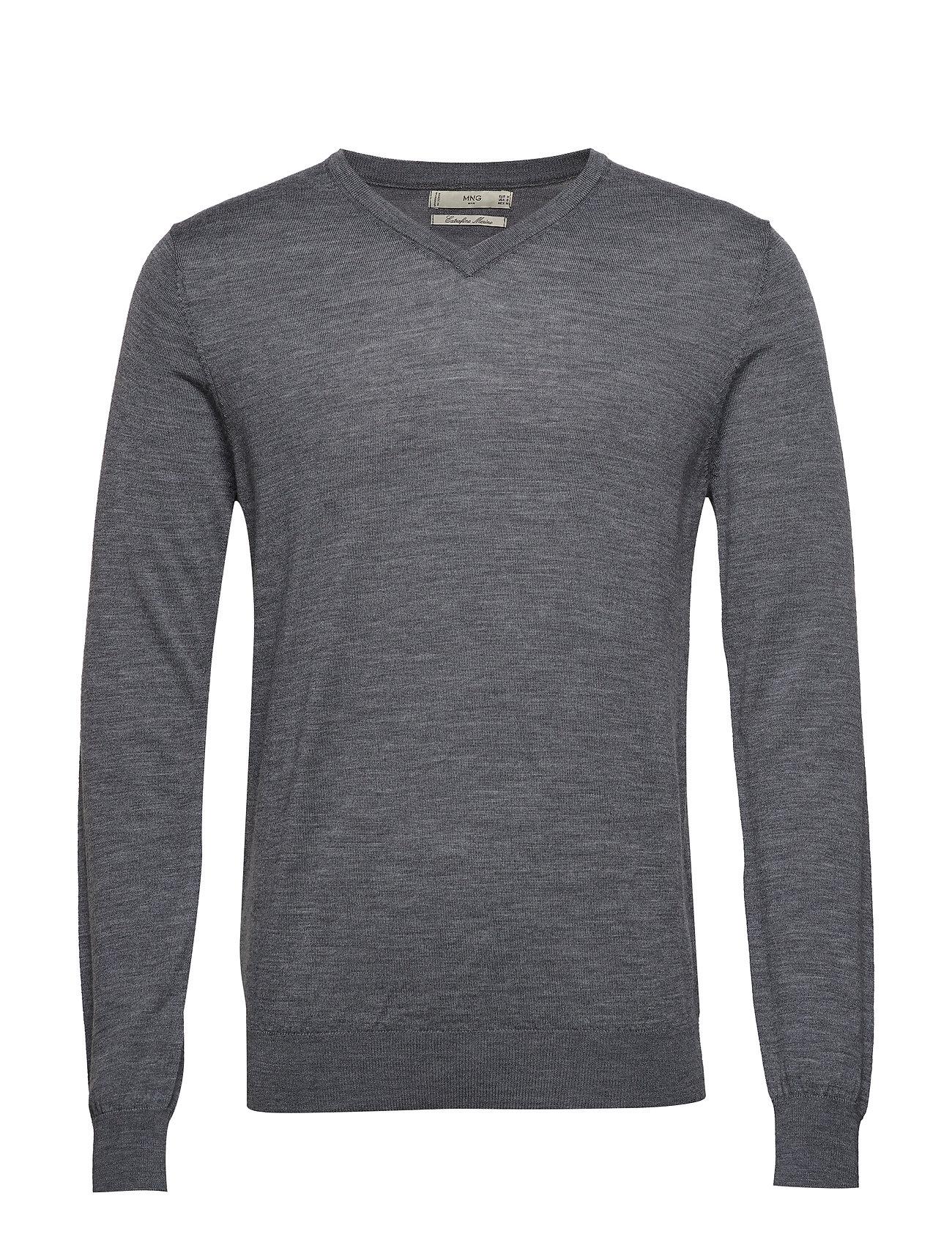 100% Merino Wool Washable Sweater Neulepaita V-kaula-aukko Harmaa Mango Man