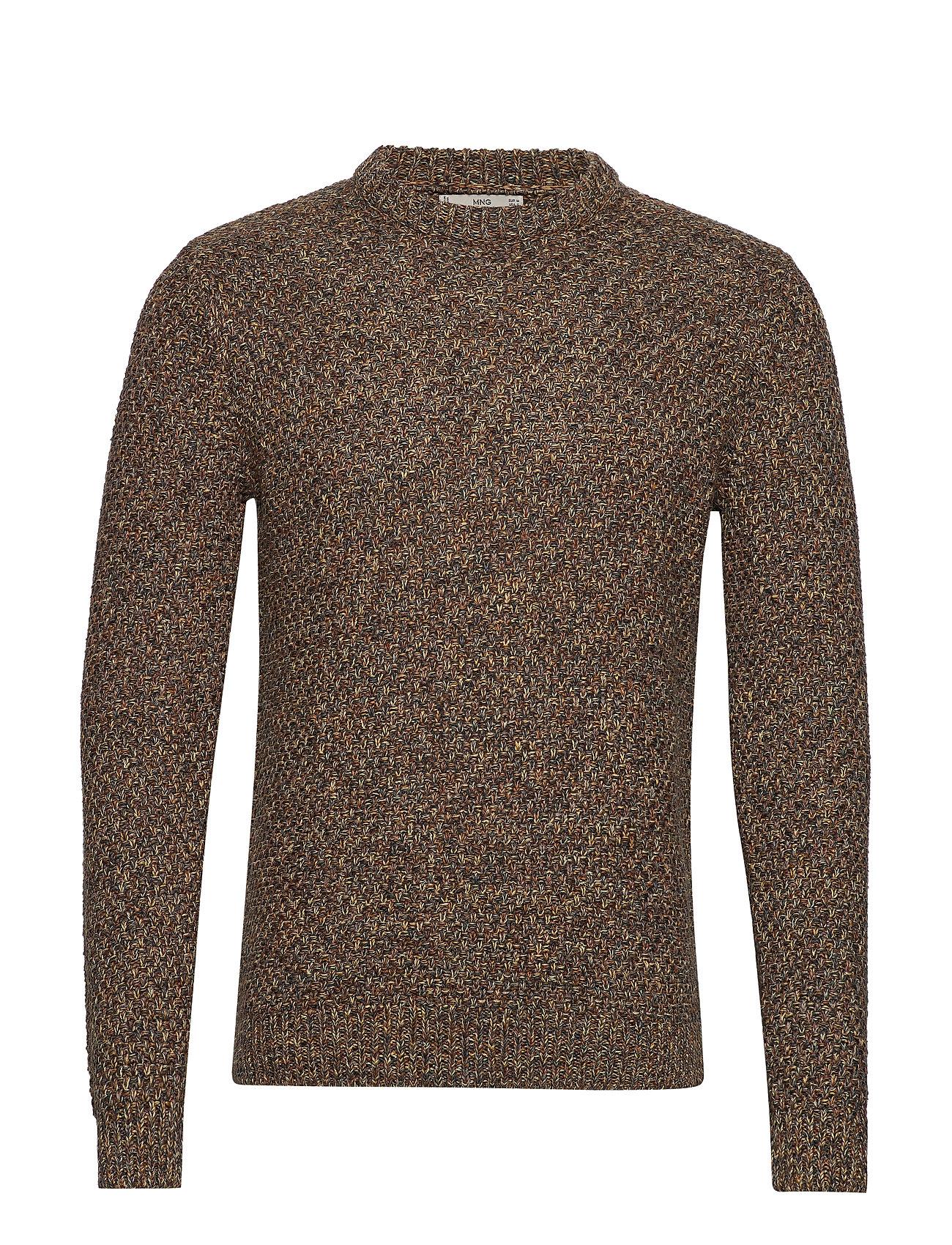 Mango Man Openwork cotton sweater - MEDIUM BROWN