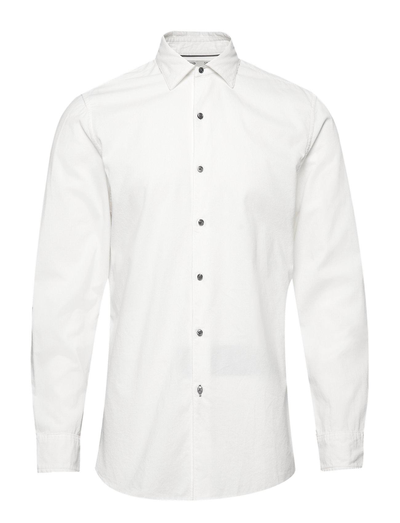 Mango Man Slim fit corduroy cotton shirt - WHITE