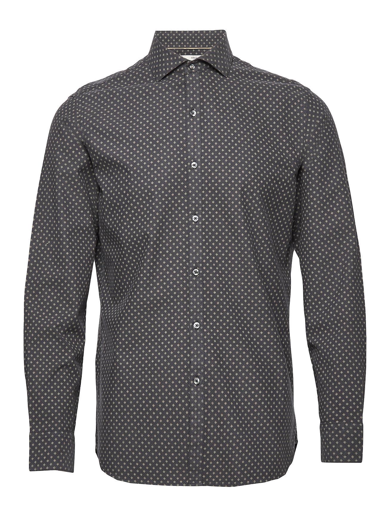 Mango Man Slim fit printed cotton shirt - DARK GREY