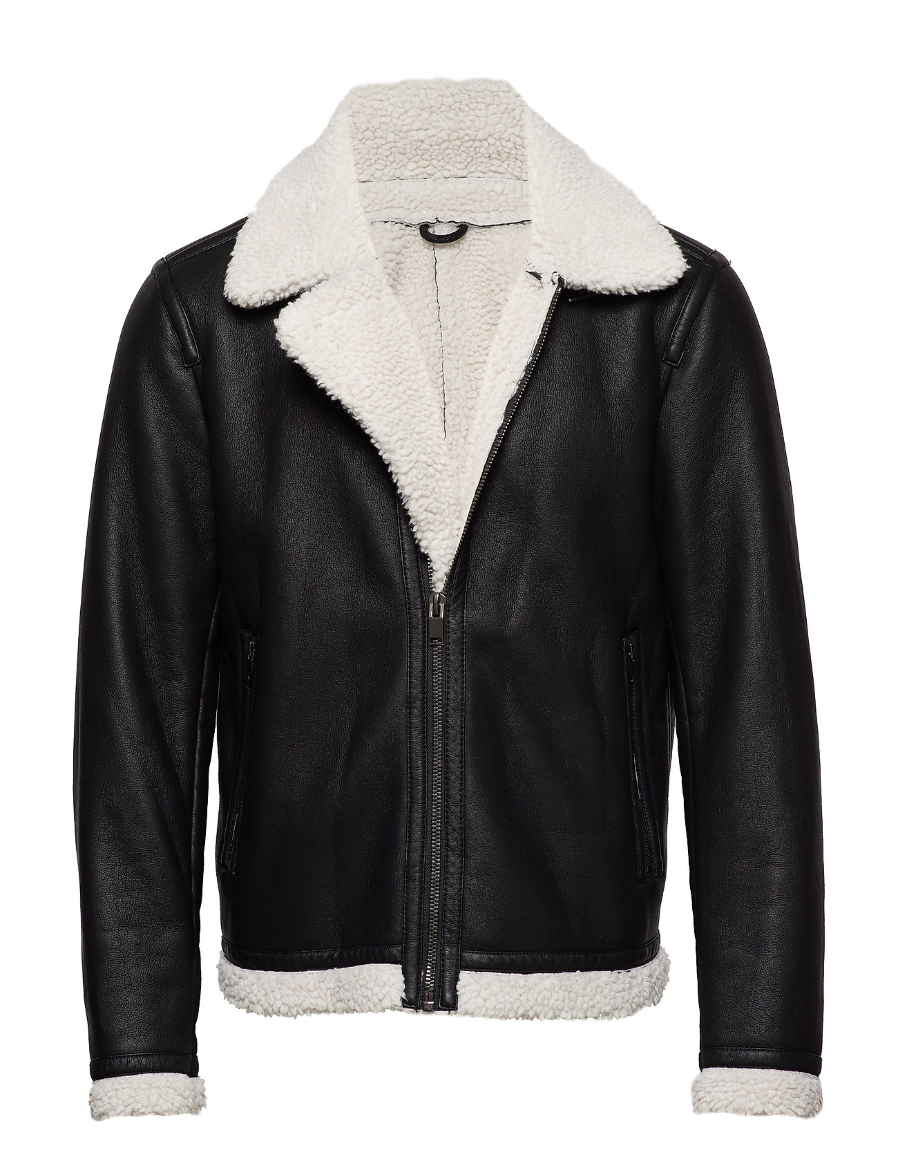 Mango Man Faux shearling aviator jacket - BLACK