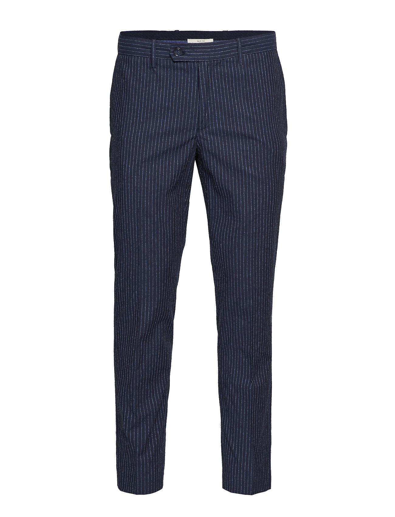 Mango Man Slim fit striped texture trousers - NAVY