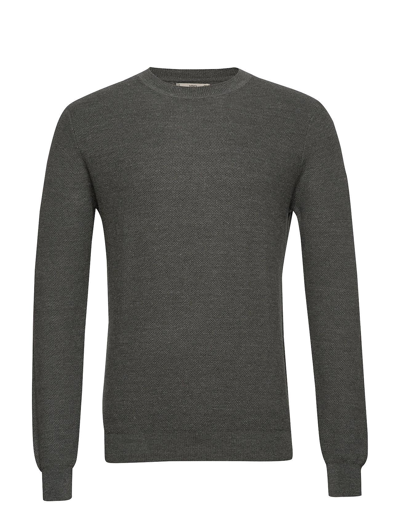 Mango Man Structure wool cotton sweater - GREEN