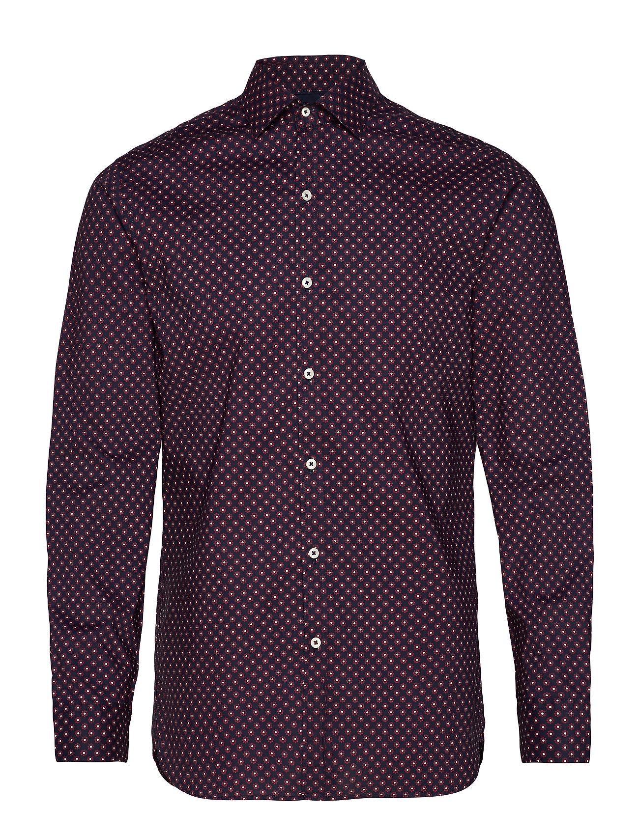 Mango Man Slim fit floral print shirt - NAVY