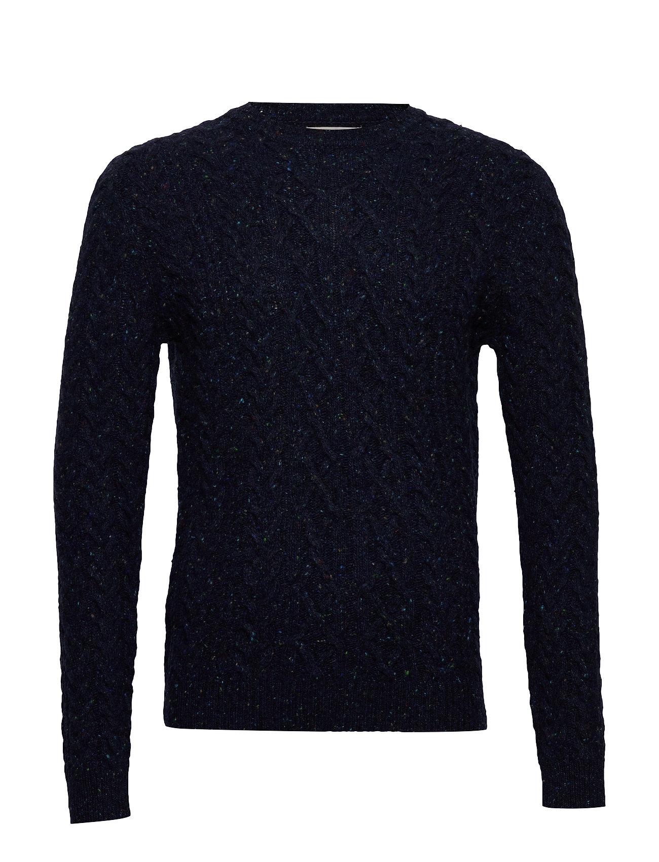 Mango Man Neps braided wool sweater - NAVY
