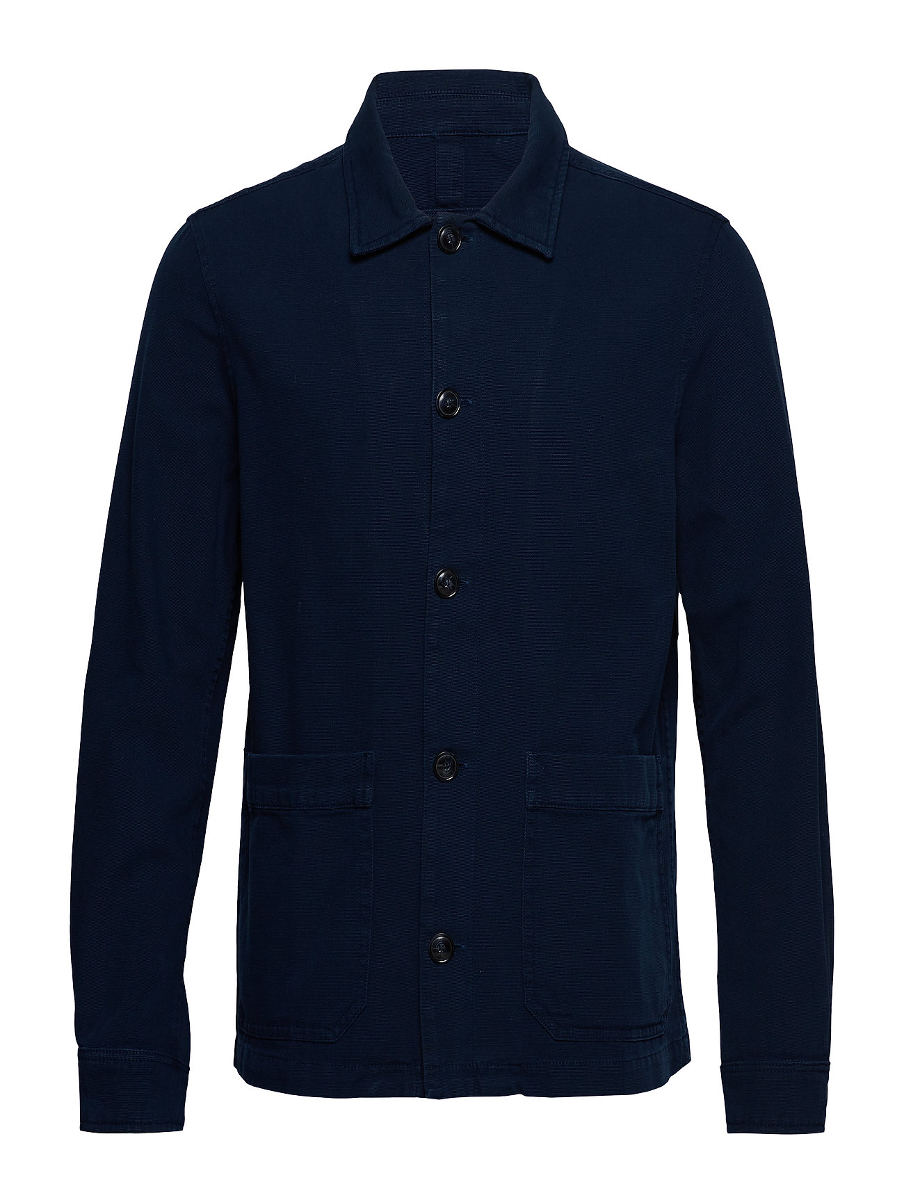 Mango Man Buttoned cotton jacket - MEDIUM BLUE