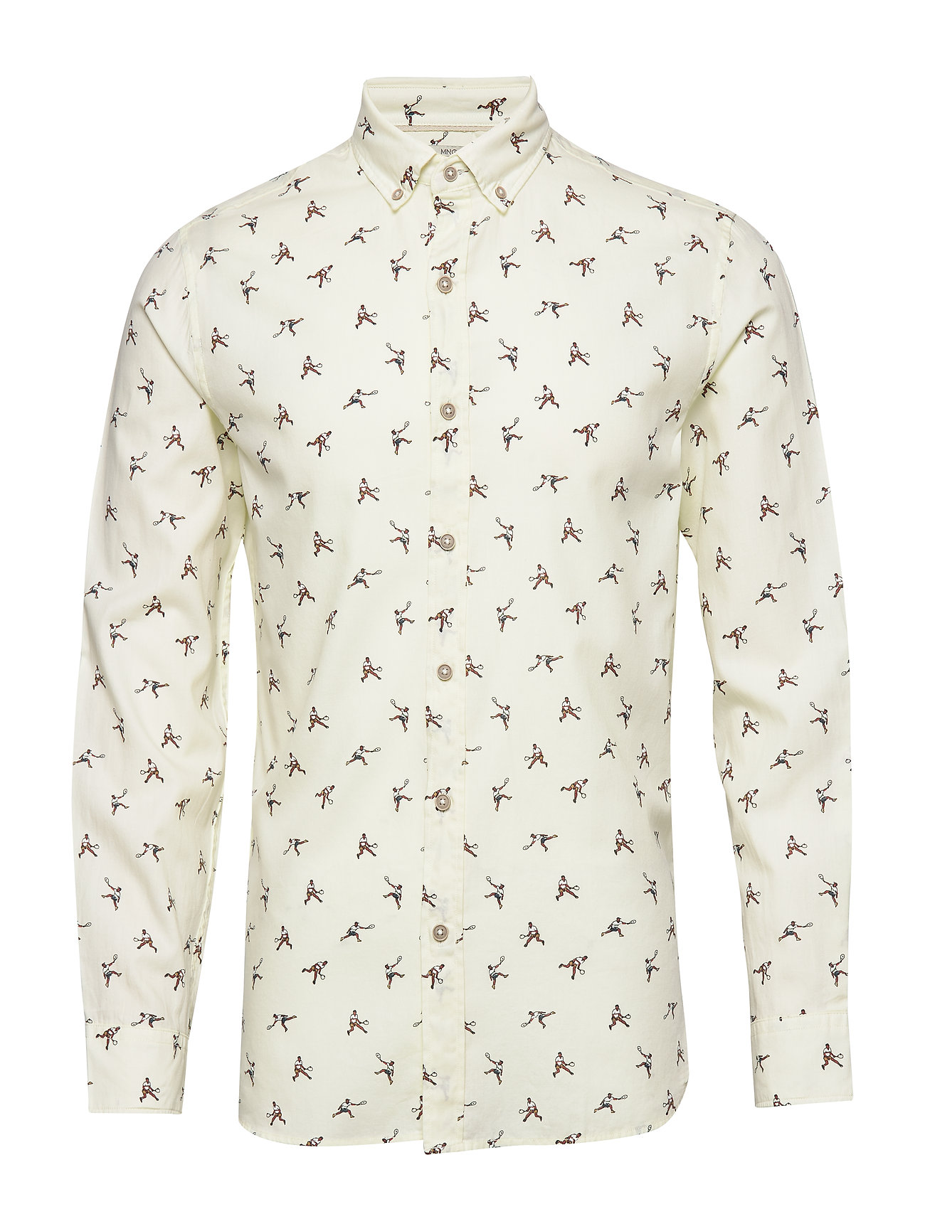 Mango Man Slim fit printed cotton shirt - NATURAL WHITE