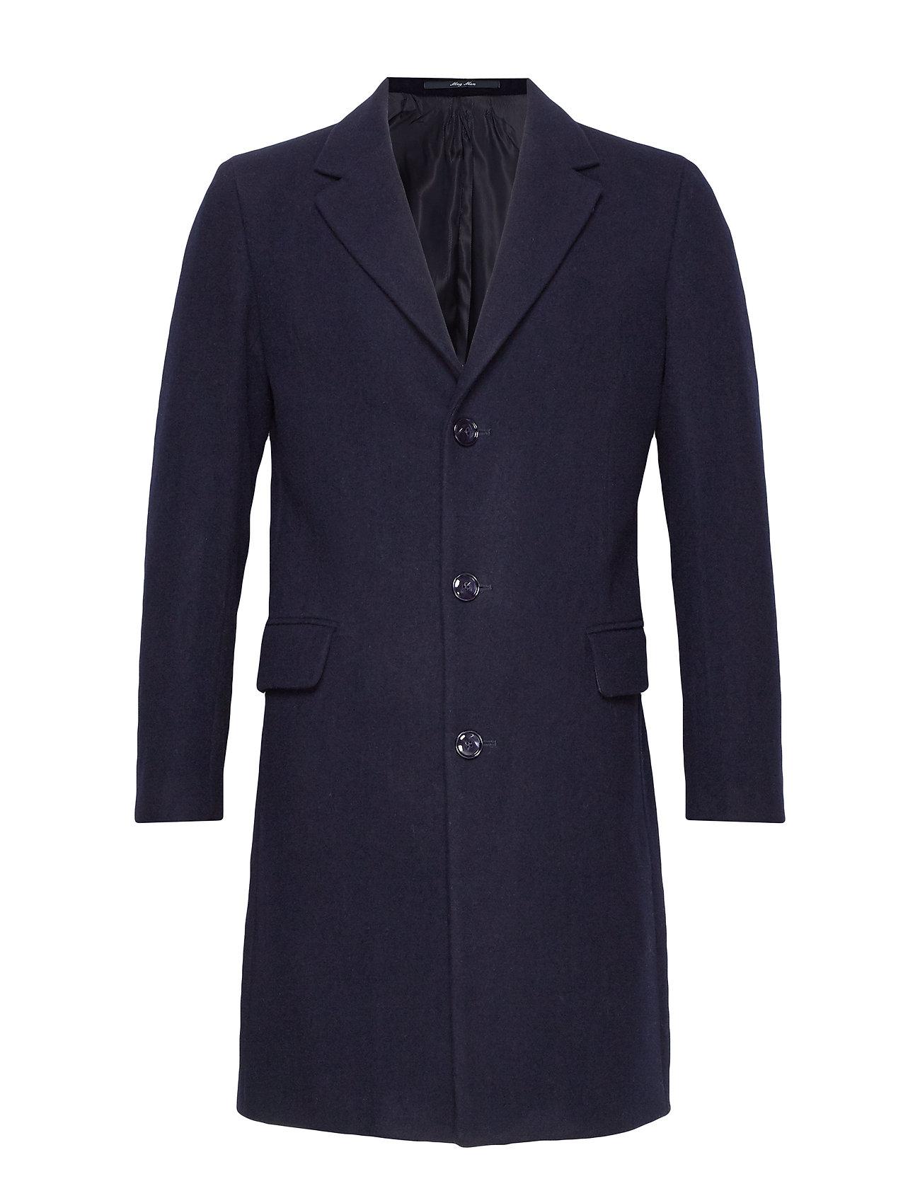 Mango Man Tailored lapels wool coat - NAVY