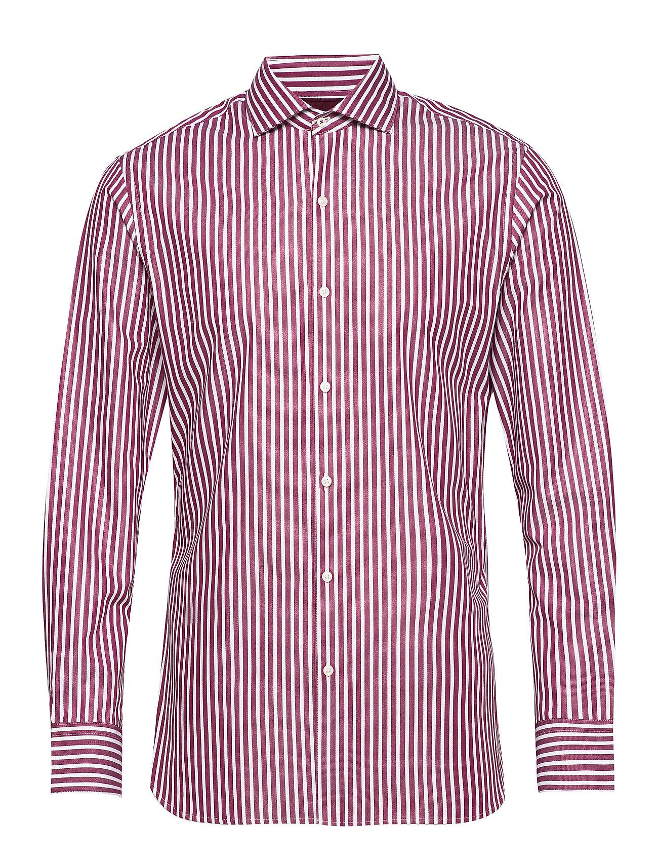 Mango Man Slim fit patterned striped shirt - DARK RED