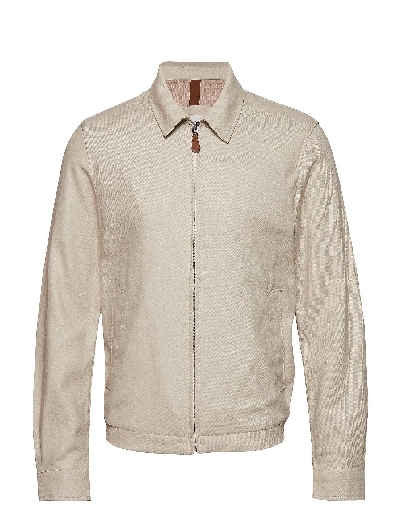 Mango Man Zipper linen cotton jacket - LIGHT BEIGE