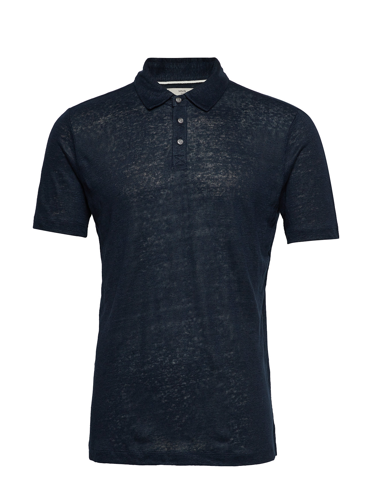 100% Linen Polo Shirt Polos Short-sleeved Sininen Mango Man