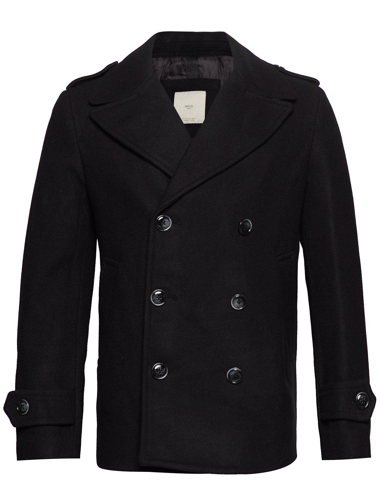 Mango Man Double-breasted wool coat - BLACK