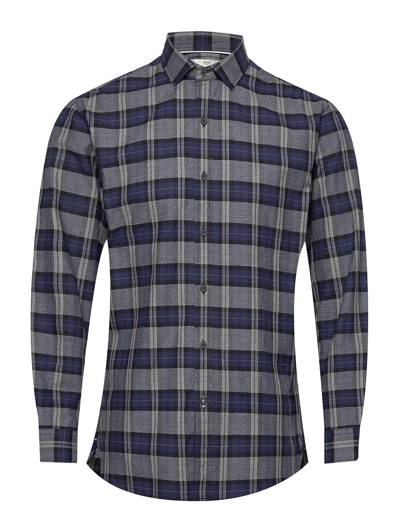 Mango Man Regular fit check cotton shirt - NAVY