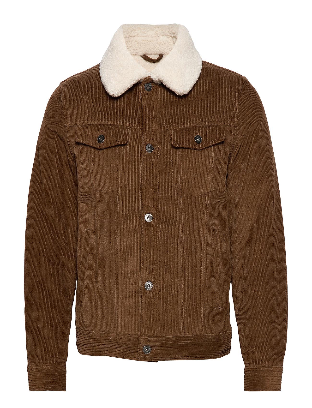 Mango Man Faux shearling inner corduroy jacket - DARK BROWN