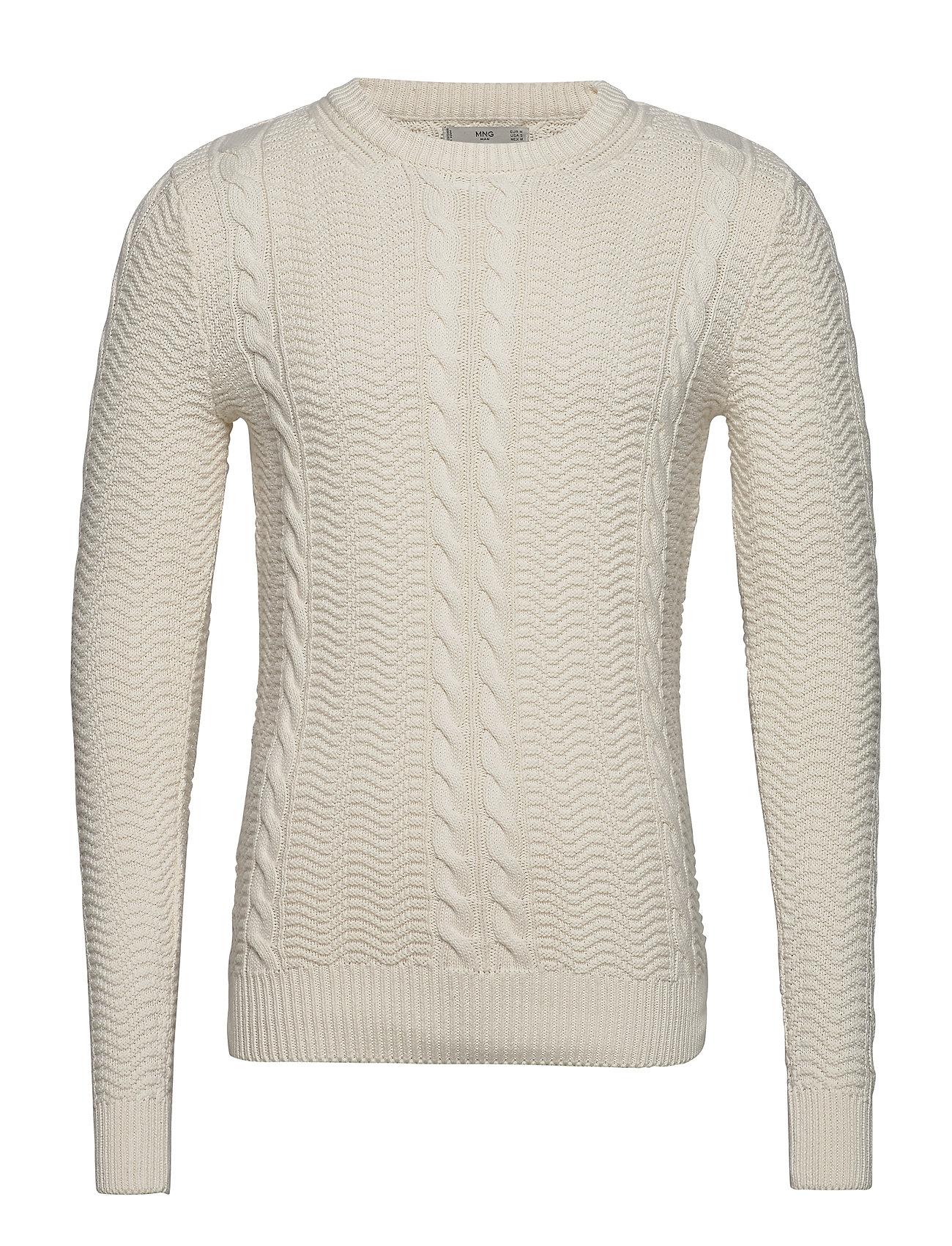 Mango Man Braided cotton sweater - NATURAL WHITE