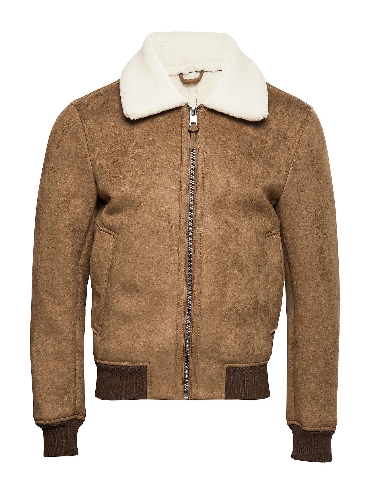 Mango Man Leather effect aviator jacket - MEDIUM BROWN