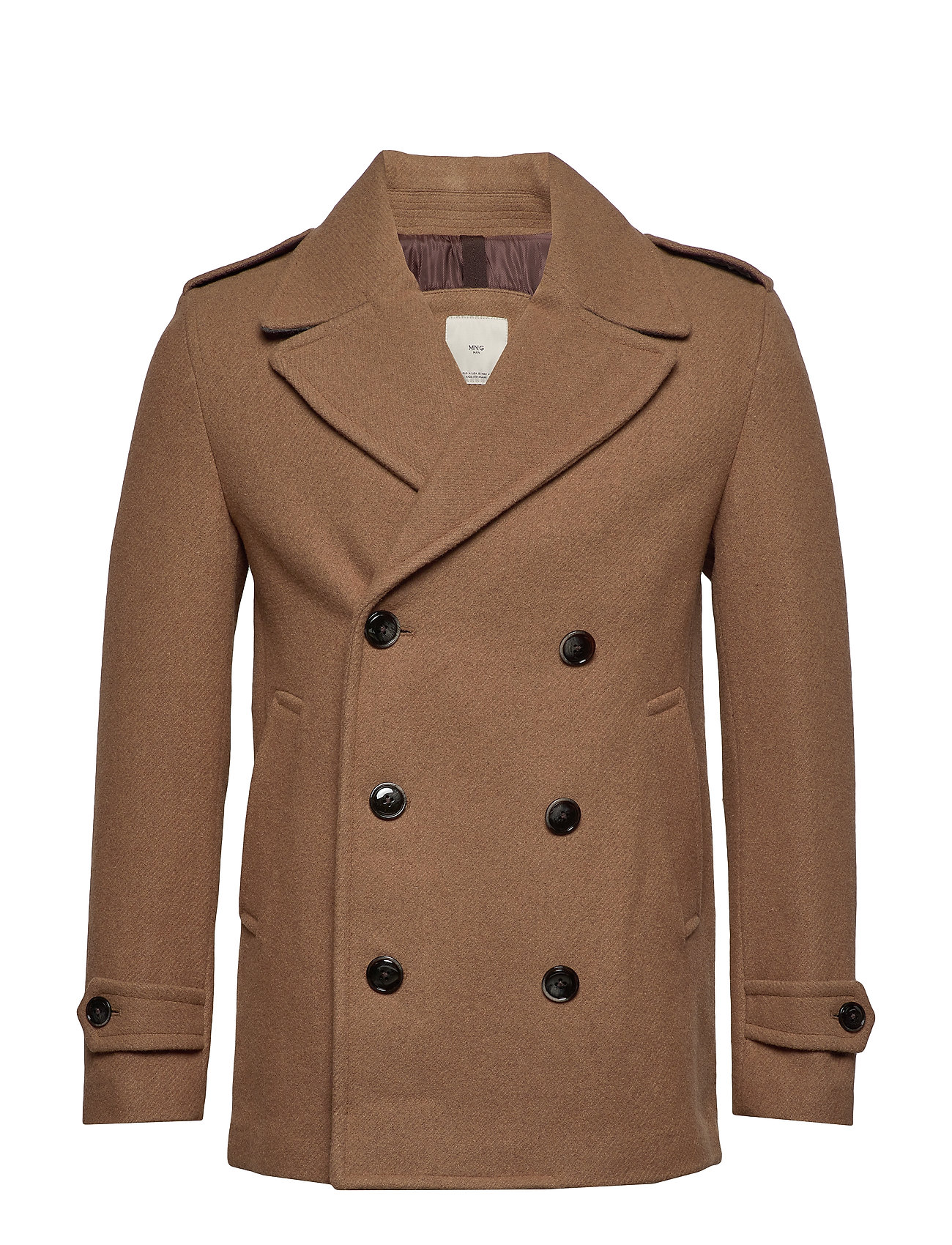 Mango Man Double-breasted wool coat - MEDIUM BROWN