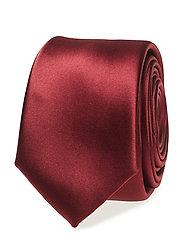 Narrow satin tie - DARK RED