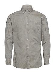 Regular-fit cotton chambray shirt - BEIGE - KHAKI