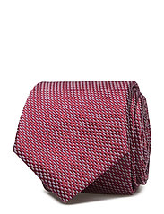 Geometric patterned silk tie - DARK RED