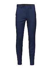 Micro print slim-fit suit trousers - MEDIUM BLUE