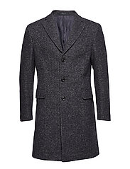 Herringboned wool Tailored coat - MEDIUM BLUE